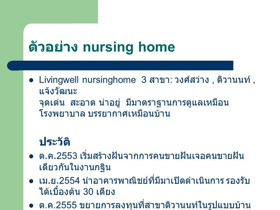 ตัวอย่าง nursing home Livingwell nursinghome 3 สาขา : วงศ์สว่าง, ติวานนท์, แจ้งวัฒนะ จุดเด่น สะอาด น่าอยู่ มีมาตราฐานการดูแลเหมือน โรงพยาบาล บรรยากาศเหมือนบ้าน ประวัติ ต.