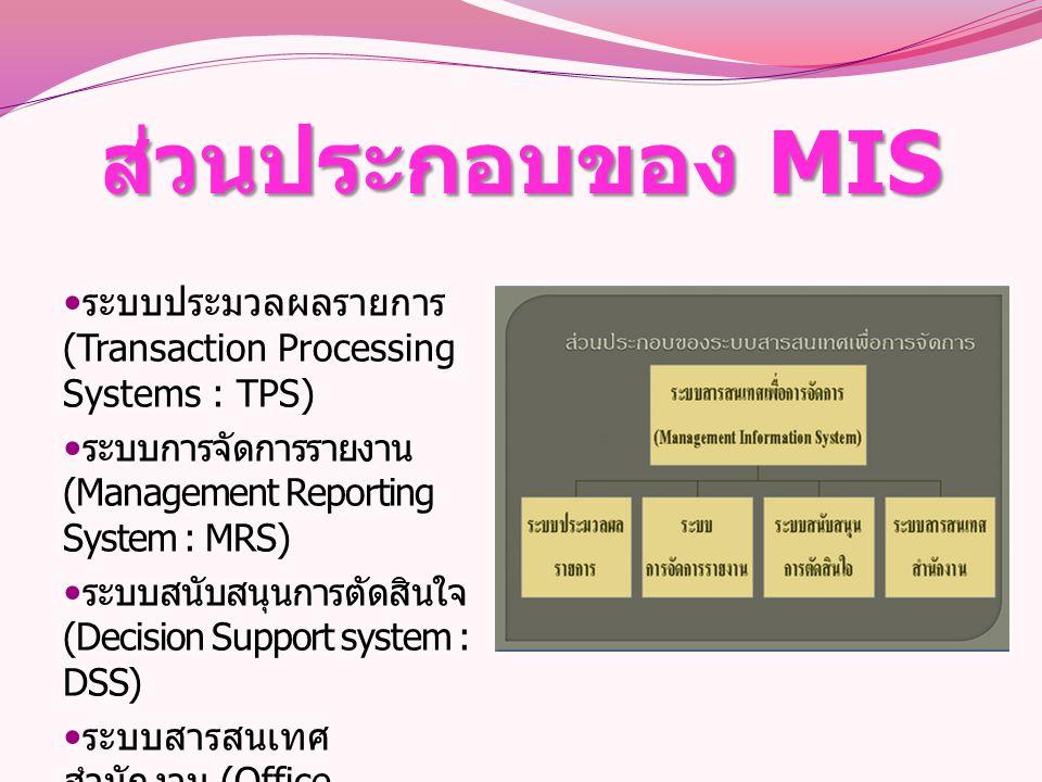 ส่วนประกอบของ MIS ระบบประมวลผลรายการ (Transaction Processing Systems : TPS) ระบบการจัดการรายงาน (Management Reporting System : MRS) ระบบสนับสนุนการตัด