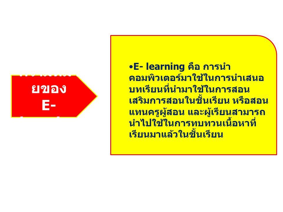 ความหมา ยของ E- learning E- learning คือ การนำ คอมพิวเตอร์มาใช้ในการนำเสนอ บทเรียนที่นำมาใช้ในการสอน เสริมการสอนในชั้นเรียน หรือสอน แทนครูผู้สอน และผู้เรียนสามารถ นำไปใช้ในการทบทวนเนื้อหาที่ เรียนมาแล้วในชั้นเรียน