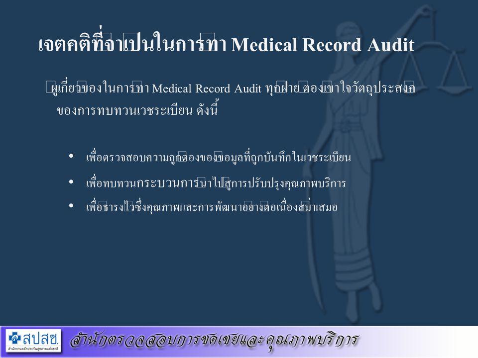 เจตคติที่จำเป็นในการทำ Medical Record Audit ผู้เกี่ยวข้องในการทำ Medical Record Audit ทุกฝ่าย ต้องเข้าใจวัตถุประสงค์ ของการทบทวนเวชระเบียน ดังนี้ เพื่