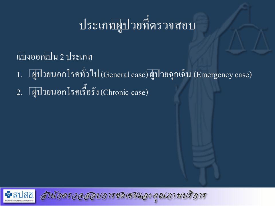 ประเภทผู้ป่วยที่ตรวจสอบ แบ่งออกเป็น 2 ประเภท 1. ผู้ป่วยนอกโรคทั่วไป (General case) ผู้ป่วยฉุกเฉิน (Emergency case) 2. ผู้ป่วยนอกโรคเรื้อรัง (Chronic c