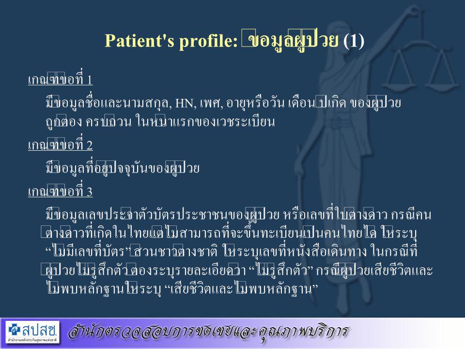 Patient's profile: ข้อมูลผู้ป่วย (1) เกณฑ์ข้อที่ 1 มีข้อมูลชื่อและนามสกุล, HN, เพศ, อายุหรือวัน เดือน ปีเกิด ของผู้ป่วย ถูกต้อง ครบถ้วน ในหน้าแรกของเว