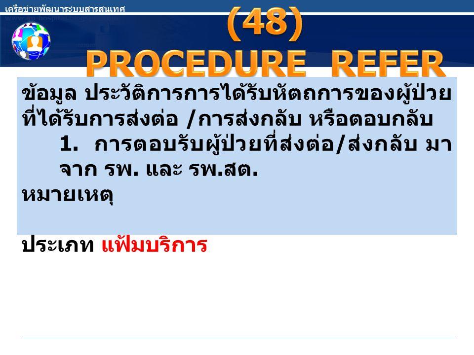 เครือข่ายพัฒนาระบบสารสนเทศ www.im-hospital.blogspot.com ข้อมูล ประวัติการการได้รับหัตถการของผู้ป่วย ที่ได้รับการส่งต่อ / การส่งกลับ หรือตอบกลับ 1. การ