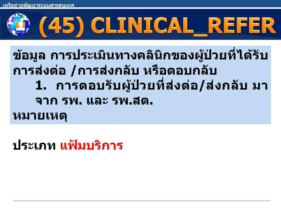 เครือข่ายพัฒนาระบบสารสนเทศ www.im-hospital.blogspot.com ข้อมูล การประเมินทางคลินิกของผู้ป่วยที่ได้รับ การส่งต่อ / การส่งกลับ หรือตอบกลับ 1. การตอบรับผ