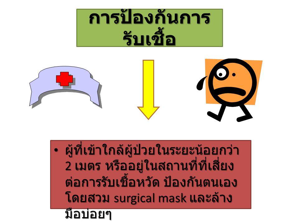 การป้องกันการ รับเชื้อ ผู้ที่เข้าใกล้ผู้ป่วยในระยะน้อยกว่า 2 เมตร หรืออยู่ในสถานที่ที่เสี่ยง ต่อการรับเชื้อหวัด ป้องกันตนเอง โดยสวม surgical mask และล้าง มือบ่อยๆ ผู้ที่เข้าใกล้ผู้ป่วยในระยะน้อยกว่า 2 เมตร หรืออยู่ในสถานที่ที่เสี่ยง ต่อการรับเชื้อหวัด ป้องกันตนเอง โดยสวม surgical mask และล้าง มือบ่อยๆ