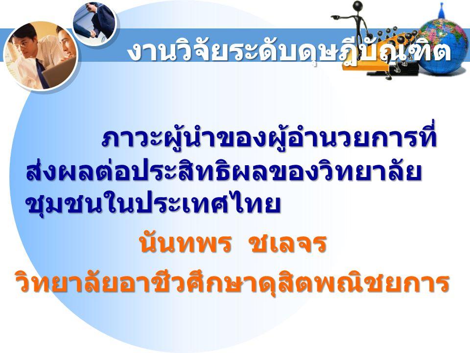 ภาวะผู้นำของผู้อำนวยการที่ ส่งผลต่อประสิทธิผลของวิทยาลัย ชุมชนในประเทศไทย นันทพร ชเลจร วิทยาลัยอาชีวศึกษาดุสิตพณิชยการ