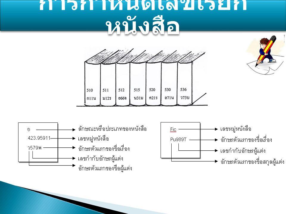  เลขหมู่ ตามการแบ่งหนังสือด้วยระบบ ดิวอี้ ได้แก่เลขหมู่ 000 – 999 รวมทั้ง อักษรแทนเลขหมู่หนังสือบางประเภท เช่น - นวนิยาย ใช้อักษรแทน เลขหมู่ น - รวมเรื่องสั้น ใช้อักษรแทน เลขหมู่ รส - หนังสือสำหรับเด็ก ใช้อักษรแทน เลขหมู่ ภ