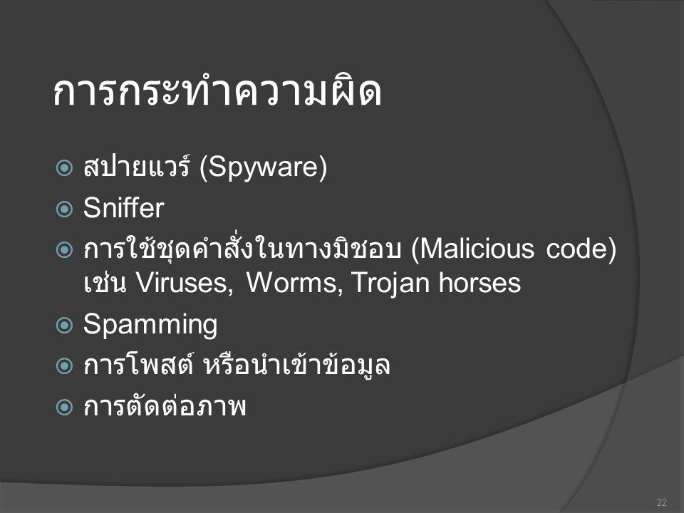 การกระทำความผิด  สปายแวร์ (Spyware)  Sniffer  การใช้ชุดคำสั่งในทางมิชอบ (Malicious code) เช่น Viruses, Worms, Trojan horses  Spamming  การโพสต์ หรือนำเข้าข้อมูล  การตัดต่อภาพ 22
