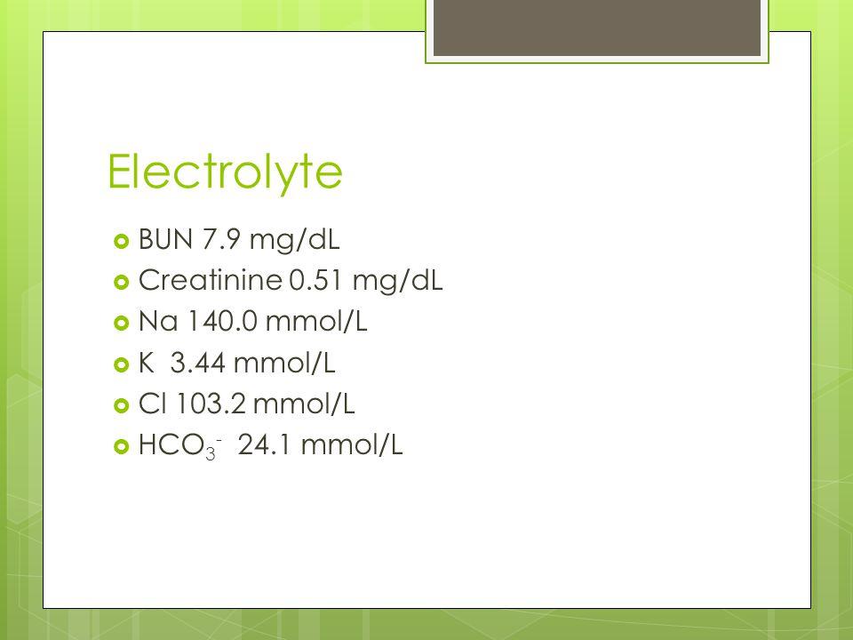 Electrolyte  BUN 7.9 mg/dL  Creatinine 0.51 mg/dL  Na 140.0 mmol/L  K 3.44 mmol/L  Cl 103.2 mmol/L  HCO 3 - 24.1 mmol/L
