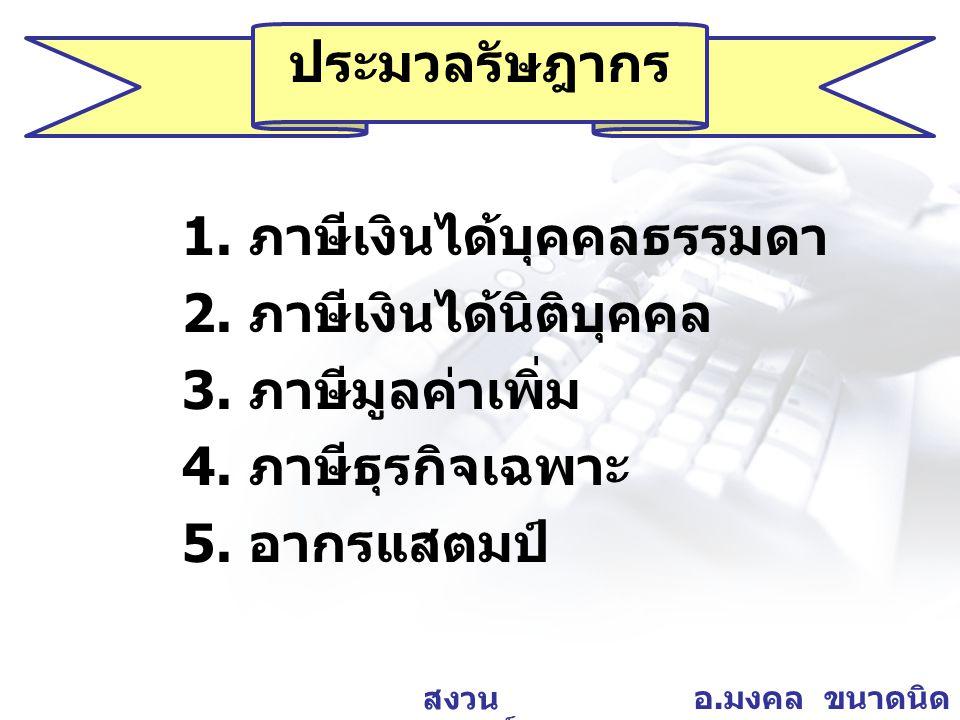อ. มงคล ขนาดนิด สงวน ลิขสิทธิ์ ภาษีเงินได้นิติบุคคล Corporate Income Tax (CIT)