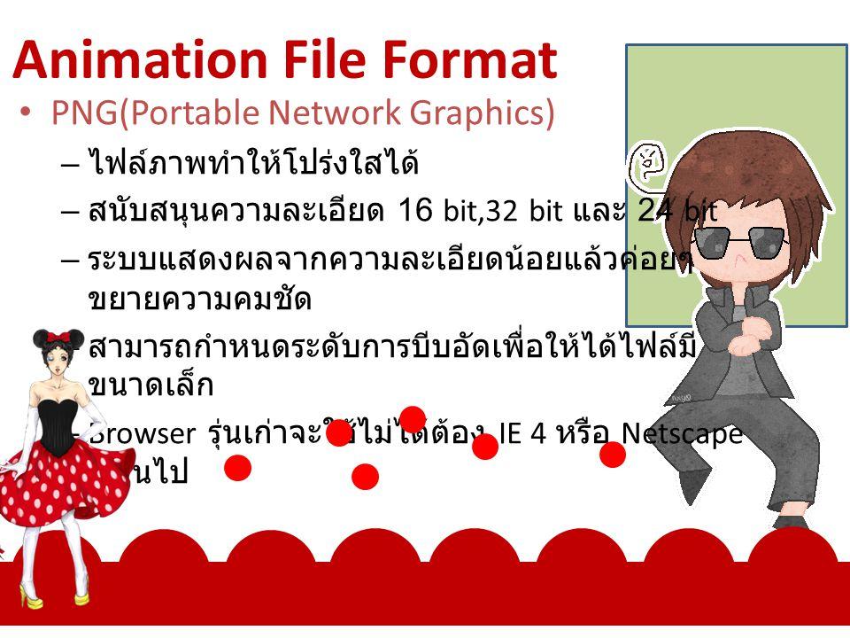 Animation File Format PNG(Portable Network Graphics) – ไฟล์ภาพทำให้โปร่งใสได้ – สนับสนุนความละเอียด 16 bit,32 bit และ 24 bit – ระบบแสดงผลจากความละเอียดน้อยแล้วค่อยๆ ขยายความคมชัด – สามารถกำหนดระดับการบีบอัดเพื่อให้ได้ไฟล์มี ขนาดเล็ก – Browser รุ่นเก่าจะใช้ไม่ได้ต้อง IE 4 หรือ Netscape 4 ขึ้นไป