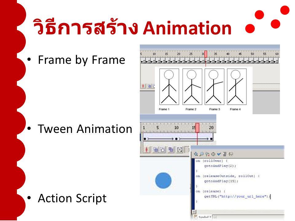 วิธีการสร้าง Animation Frame by Frame Tween Animation Action Script