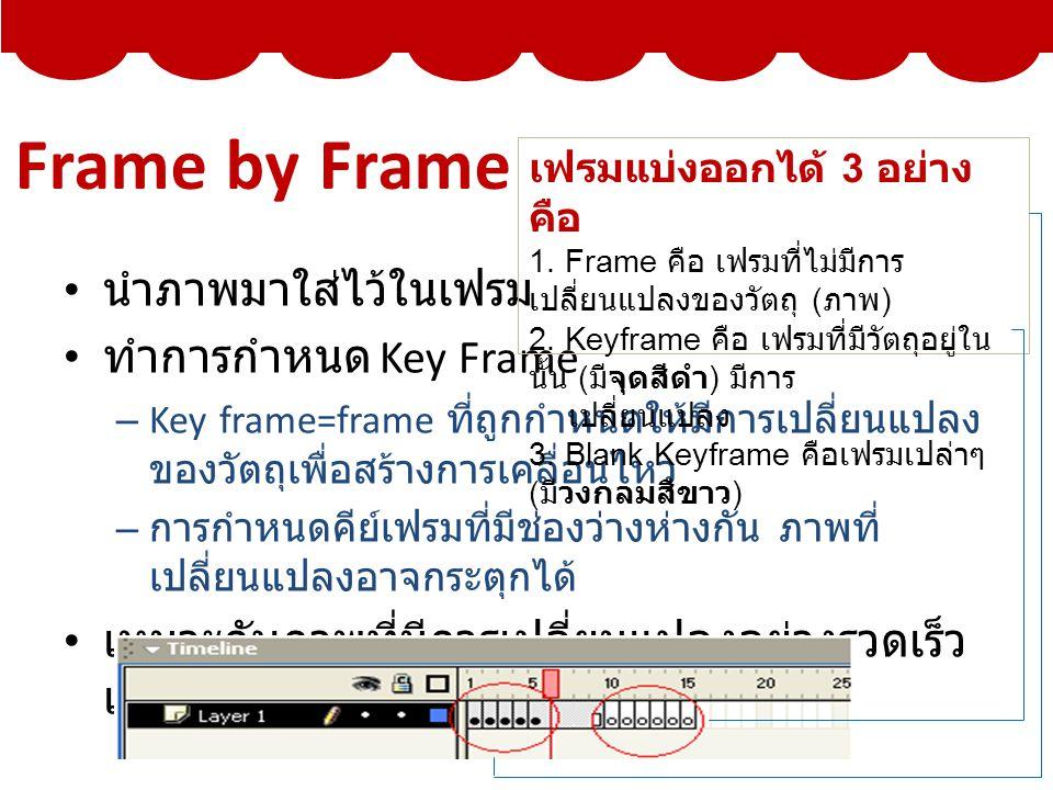 Frame by Frame นำภาพมาใส่ไว้ในเฟรม ทำการกำหนด Key Frame – Key frame=frame ที่ถูกกำหนดให้มีการเปลี่ยนแปลง ของวัตถุเพื่อสร้างการเคลื่อนไหว – การกำหนดคีย์เฟรมที่มีช่องว่างห่างกัน ภาพที่ เปลี่ยนแปลงอาจกระตุกได้ เหมาะกับภาพที่มีการเปลี่ยนแปลงอย่างรวดเร็ว และซับซ้อน เฟรมแบ่งออกได้ 3 อย่าง คือ 1.