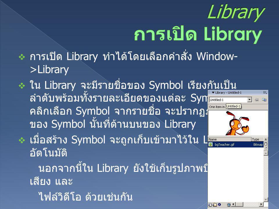  การเปิด Library ทำได้โดยเลือกคำสั่ง Window- >Library  ใน Library จะมีรายชื่อของ Symbol เรียงกันเป็น ลำดับพร้อมทั้งรายละเอียดของแต่ละ Symbol เมื่อ ค