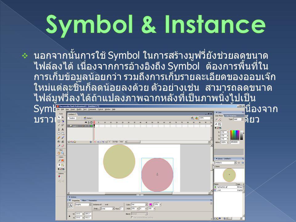  Symbol ที่คุณจะนำมาใช้ในมูฟวี่มี 3 ประเภท ซึ่ง Symbol แต่ ละประเภทนั้นมีคุณสมบัติแตกต่างกัน ขึ้นอยู่กับจุดประสงค์ใน การนำไปใช้งาน o Movie Clip ซิมโบลสำหรับสร้างภาพเคลื่อนไหว สามารถใส่ เสียงประกอบได้ o Button ซิมโบลสำหรับสร้างปุ่มใช้ตอบสนองต่อการกระทำ ของเมาส์ o Graphic ซิมโบลสำหรับอ็อบเจ็คหรือภาพนิ่ง