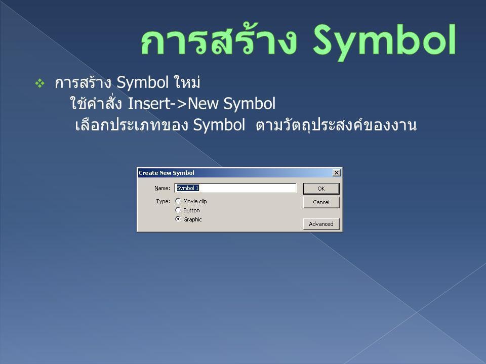  การสร้าง Symbol ใหม่ ใช้คำสั่ง Insert->New Symbol เลือกประเภทของ Symbol ตามวัตถุประสงค์ของงาน