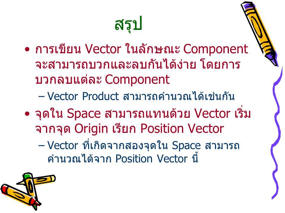 สรุป การเขียน Vector ในลักษณะ Component จะสามารถบวกและลบกันได้ง่าย โดยการ บวกลบแต่ละ Component –Vector Product สามารถคำนวณได้เช่นกัน จุดใน Space สามาร
