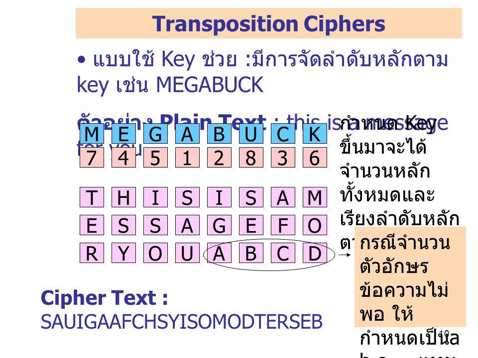 10 แบบใช้ Key ช่วย : มีการจัดลำดับหลักตาม key เช่น MEGABUCK ตัวอย่าง Plain Text : this is a message for you Transposition Ciphers Cipher Text : SAUIGAAFCHSYISOMODTERSEB กำหนด Key ขึ้นมาจะได้ จำนวนหลัก ทั้งหมดและ เรียงลำดับหลัก ตาม Key THISISAM ESSAGEFO RYOU MEGABUCK 74512836 ABCD กรณีจำนวน ตัวอักษร ข้อความไม่ พอ ให้ กำหนดเป็น a b c … แทน