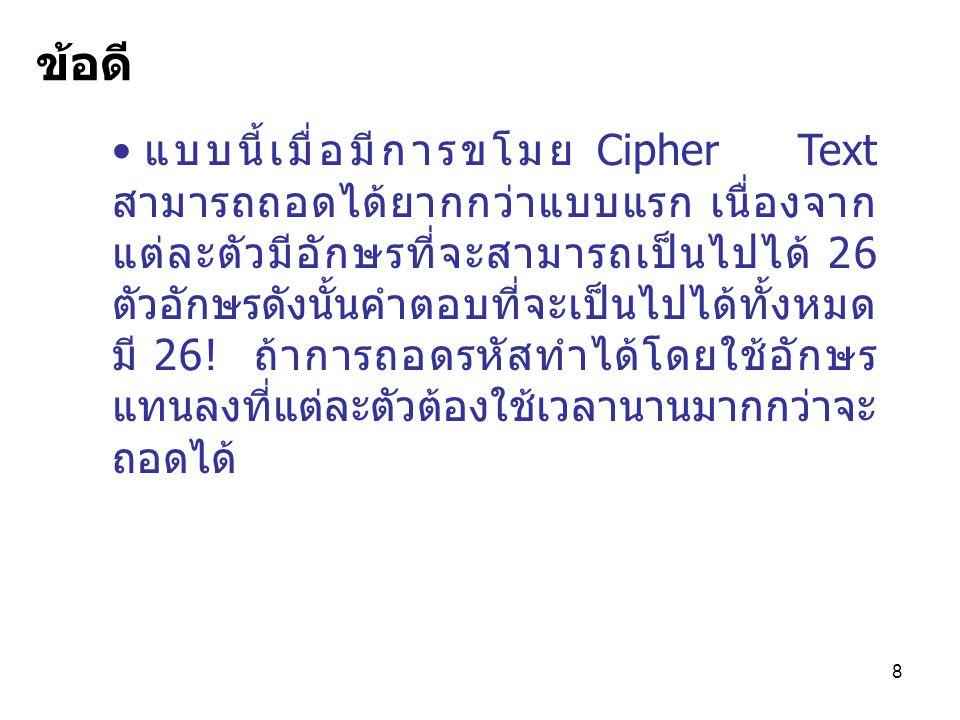 8 แบบนี้เมื่อมีการขโมย Cipher Text สามารถถอดได้ยากกว่าแบบแรก เนื่องจาก แต่ละตัวมีอักษรที่จะสามารถเป็นไปได้ 26 ตัวอักษรดังนั้นคำตอบที่จะเป็นไปได้ทั้งหมด มี 26.