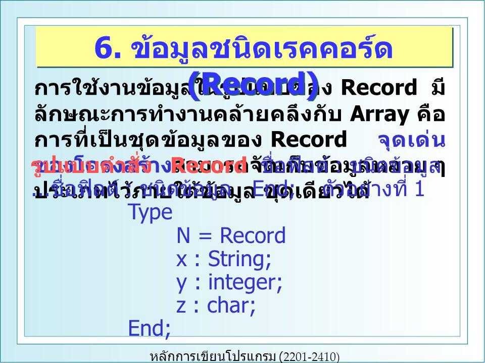 หลักการเขียนโปรแกรม (2201-2410) การใช้งานข้อมูลในรูปแบบของ Record มี ลักษณะการทำงานคล้ายคลึงกับ Array คือ การที่เป็นชุดข้อมูลของ Record จุดเด่น ของโคร