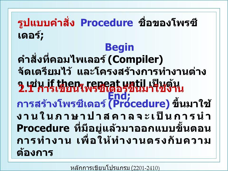 หลักการเขียนโปรแกรม (2201-2410) รูปแบบคำสั่ง Procedure ชื่อของโพรซี เดอร์ ; Begin คำสั่งที่คอมไพเลอร์ (Compiler) จัดเตรียมไว้ และโครงสร้างการทำงานต่าง