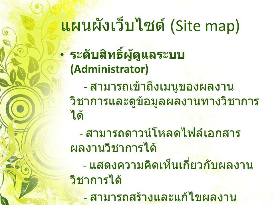 แผนผังเว็บไซต์ (Site map) ระดับสิทธิ์ผู้ดูแลระบบ (Administrator) - สามารถเข้าถึงเมนูของผลงาน วิชาการและดูข้อมูลผลงานทางวิชาการ ได้ - สามารถดาวน์โหลดไฟ