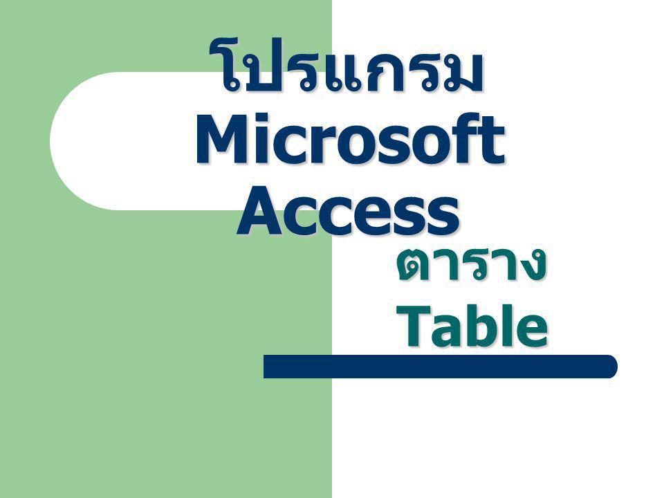 โปรแกรม Microsoft Access ตาราง Table