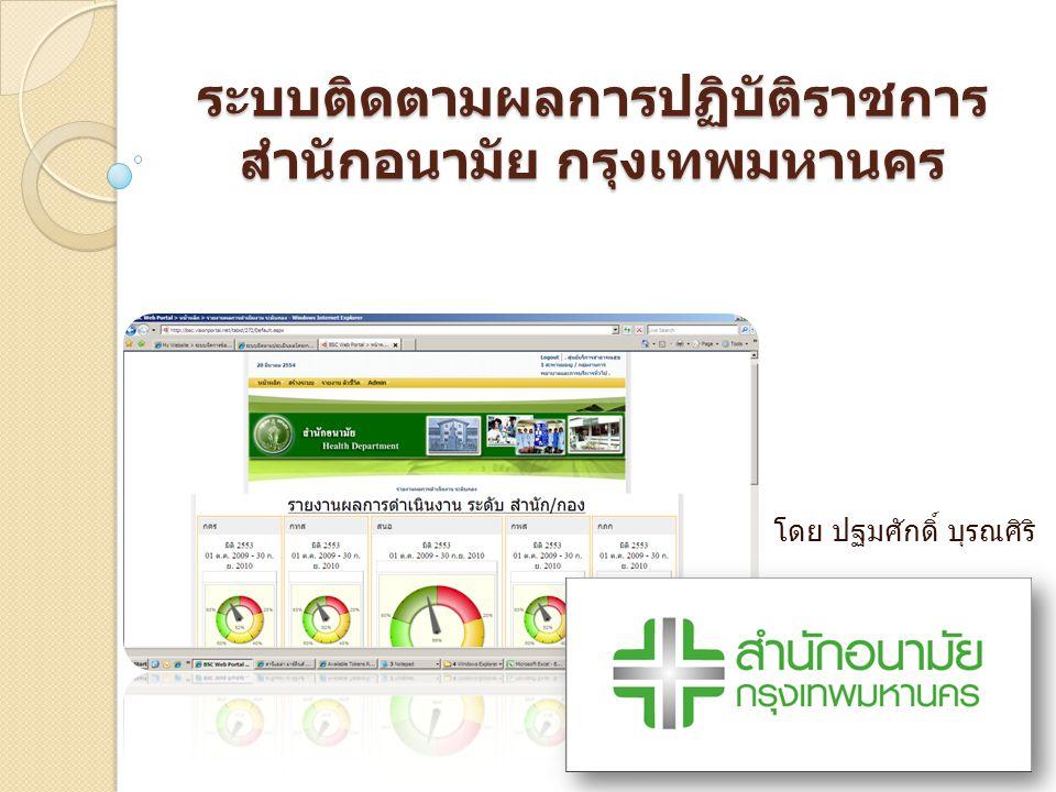 ระบบติดตามผลการปฏิบัติราชการ สำนักอนามัย กรุงเทพมหานคร โดย ปฐมศักดิ์ บุรณศิริ