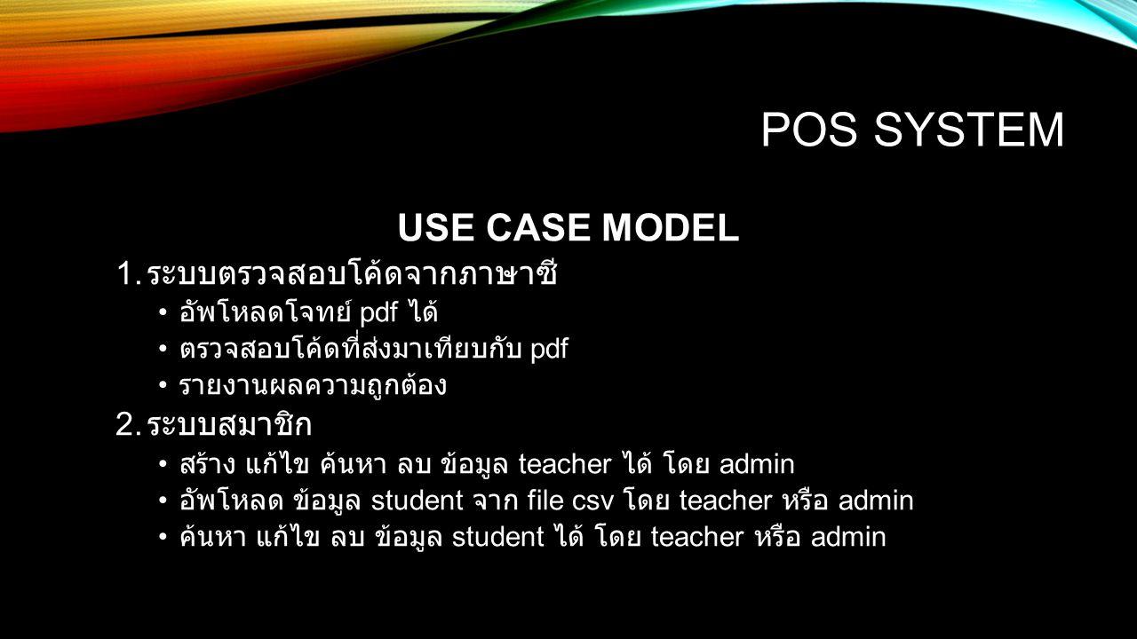 POS SYSTEM USE CASE MODEL 3.การแสดงผล แบ่งเป็นหน้า admin teacher และ student 1.admin 1.