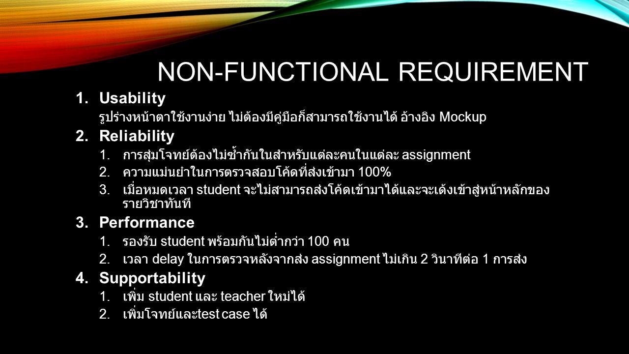 NON-FUNCTIONAL REQUIREMENT 1.Usability รูปร่างหน้าตาใช้งานง่าย ไม่ต้องมีคู่มือก็สามารถใช้งานได้ อ้างอิง Mockup 2.Reliability 1. การสุ่มโจทย์ต้องไม่ซ้ำ