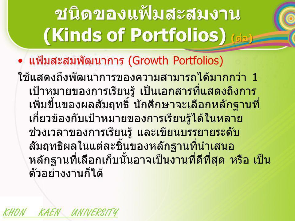 KHON KAEN UNIVERSITY ชนิดของแฟ้มสะสมงาน (Kinds of Portfolios) (ต่อ) แฟ้มสะสมพัฒนาการ (Growth Portfolios) ใช้แสดงถึงพัฒนาการของความสามารถได้มากกว่า 1 เป้าหมายของการเรียนรู้ เป็นเอกสารที่แสดงถึงการ เพิ่มขึ้นของผลสัมฤทธิ์ นักศึกษาจะเลือกหลักฐานที่ เกี่ยวข้องกับเป้าหมายของการเรียนรู้ได้ในหลาย ช่วงเวลาของการเรียนรู้ และเขียนบรรยายระดับ สัมฤทธิผลในแต่ละชิ้นของหลักฐานที่นำเสนอ หลักฐานที่เลือกเก็บนั้นอาจเป็นงานที่ดีที่สุด หรือ เป็น ตัวอย่างงานก็ได้