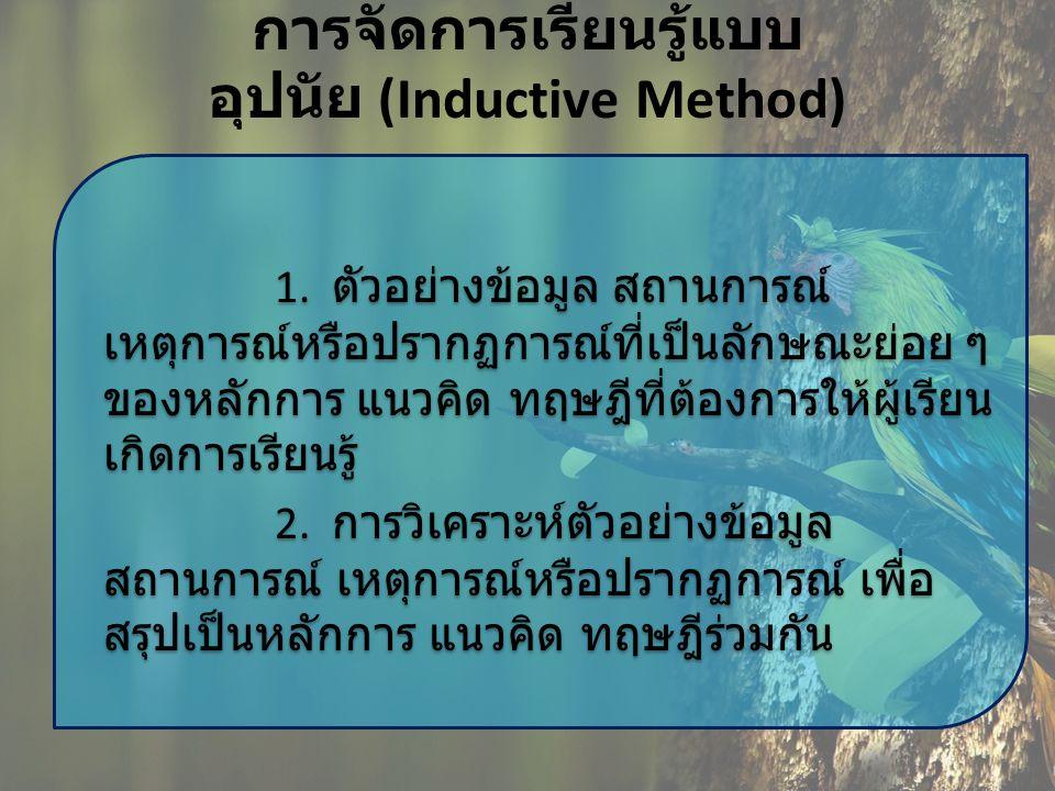 การจัดการเรียนรู้แบบ อุปนัย (Inductive Method) 1. ตัวอย่างข้อมูล สถานการณ์ เหตุการณ์หรือปรากฏการณ์ที่เป็นลักษณะย่อย ๆ ของหลักการ แนวคิด ทฤษฎีที่ต้องกา