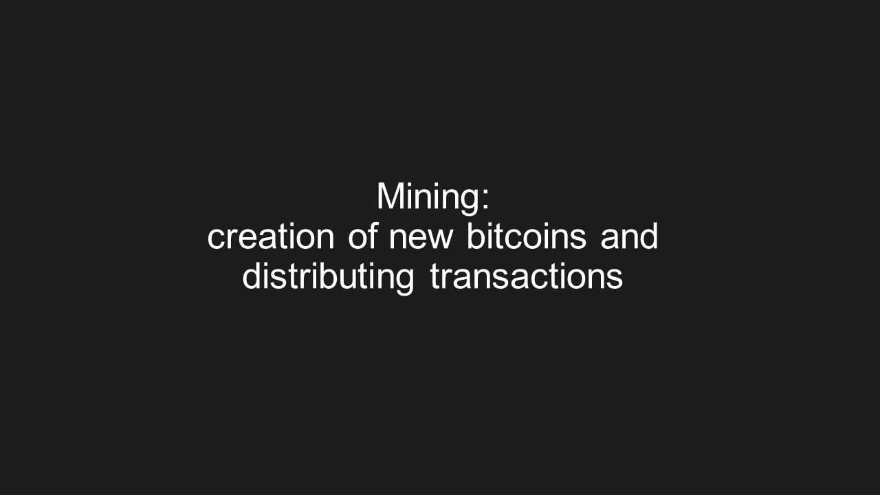 Mining: creation of new bitcoins and distributing transactions