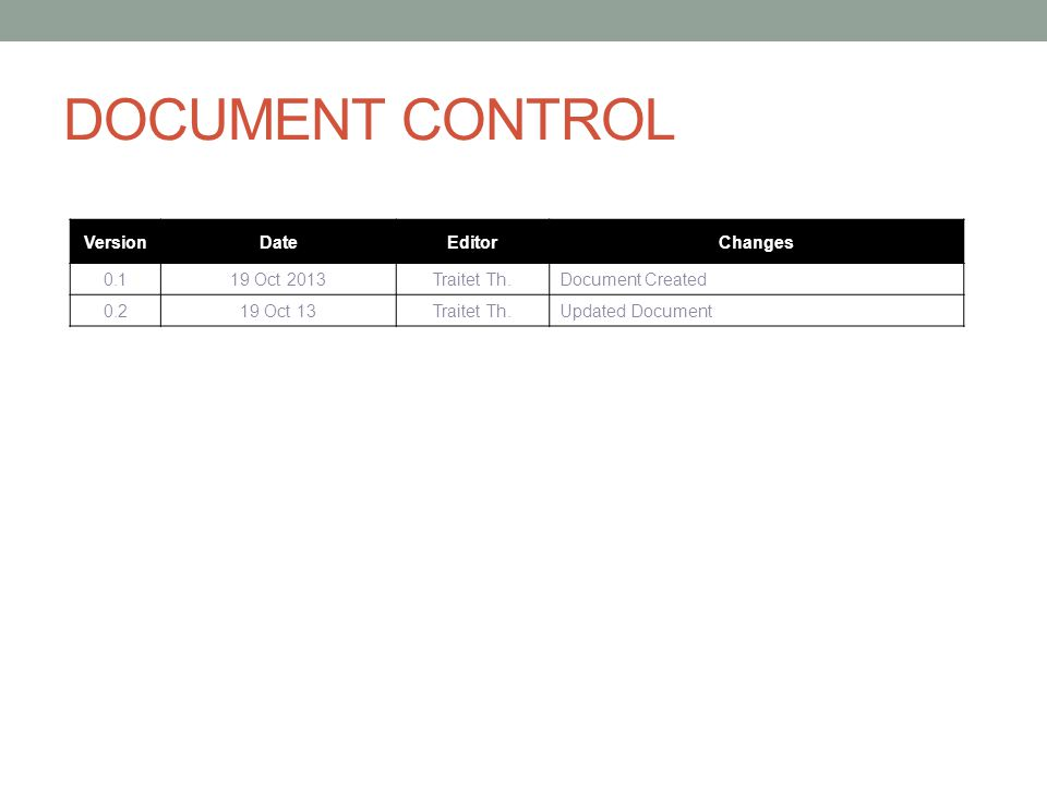 DOCUMENT CONTROL VersionDateEditorChanges 0.119 Oct 2013Traitet Th.Document Created 0.219 Oct 13Traitet Th.Updated Document