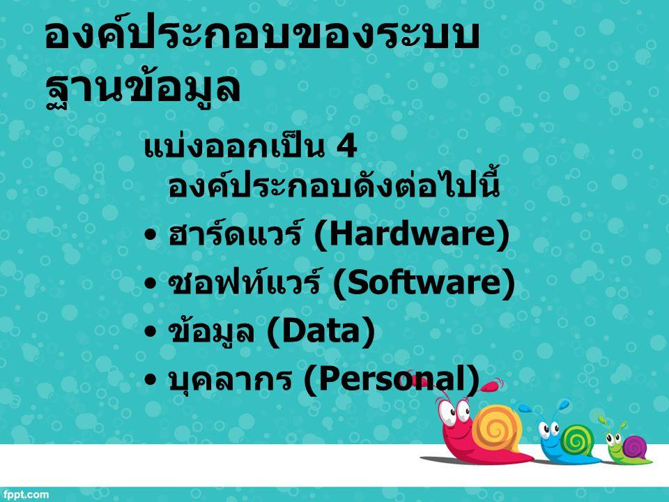 องค์ประกอบของระบบ ฐานข้อมูล แบ่งออกเป็น 4 องค์ประกอบดังต่อไปนี้ ฮาร์ดแวร์ (Hardware) ซอฟท์แวร์ (Software) ข้อมูล (Data) บุคลากร (Personal)
