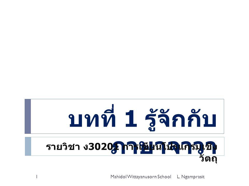 บทที่ 1 รู้จักกับ ภาษาจาวา รายวิชา ง 30201 การเขียนโปรแกรมเชิง วัตถุ Mahidol Wittayanusorn School1L. Ngamprasit