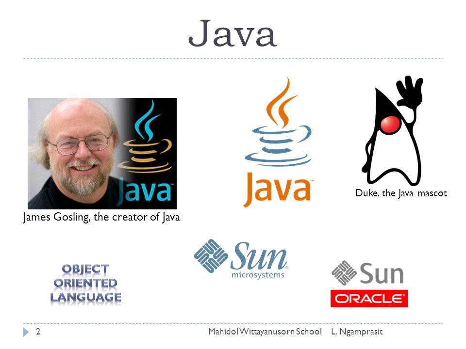 Java James Gosling, the creator of Java Duke, the Java mascot Mahidol Wittayanusorn School2L. Ngamprasit