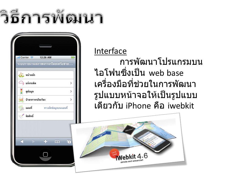 Interface การพัฒนาโปรแกรมบน ไอโฟนซึ่งเป็น web base เครื่องมือที่ช่วยในการพัฒนา รูปแบบหน้าจอให้เป็นรูปแบบ เดียวกับ iPhone คือ iwebkit