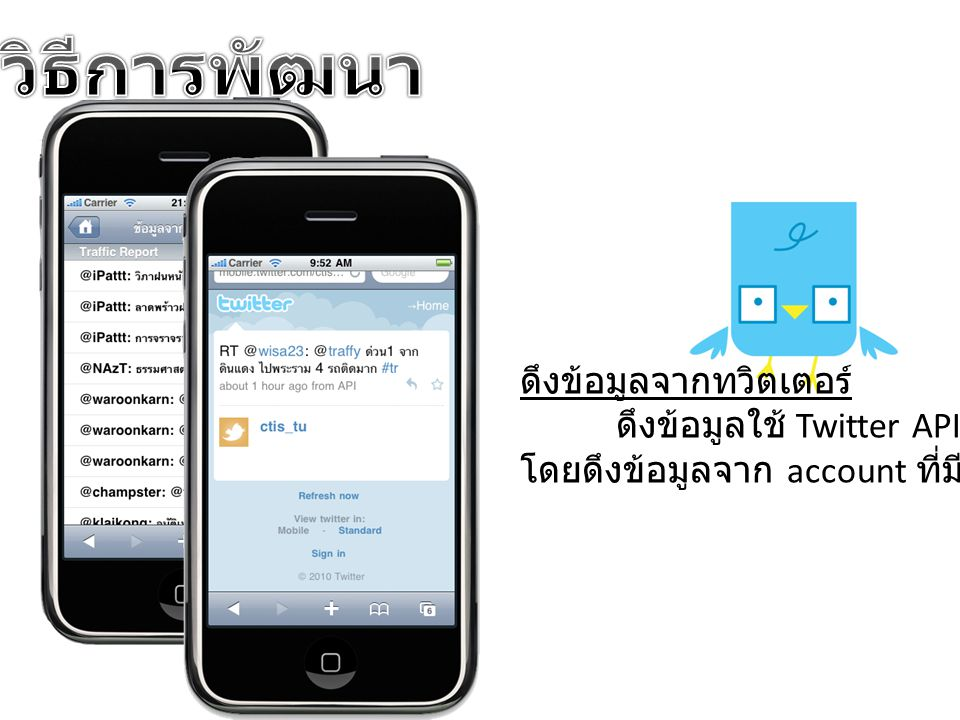 ดึงข้อมูลจากทวิตเตอร์ ดึงข้อมูลใช้ Twitter API โดยดึงข้อมูลจาก account ที่มีอยู่