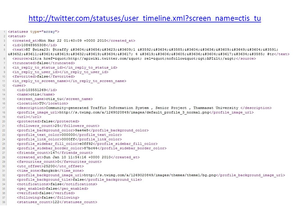 http://twitter.com/statuses/user_timeline.xml screen_name=ctis_tu