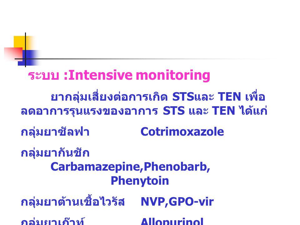 ระบบ :Intensive monitoring ยากลุ่มเสี่ยงต่อการเกิด STS และ TEN เพื่อ ลดอาการรุนแรงของอาการ STS และ TEN ได้แก่ กลุ่มยาซัลฟา Cotrimoxazole กลุ่มยากันชัก Carbamazepine,Phenobarb, Phenytoin กลุ่มยาต้านเชื้อไวรัส NVP,GPO-vir กลุ่มยาเก๊าท์ Allopurinol