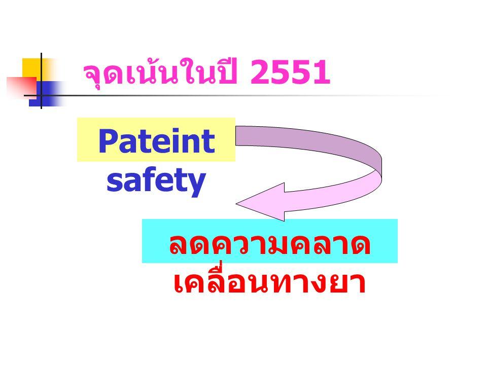 จุดเน้นในปี 2551 Pateint safety ลดความคลาด เคลื่อนทางยา