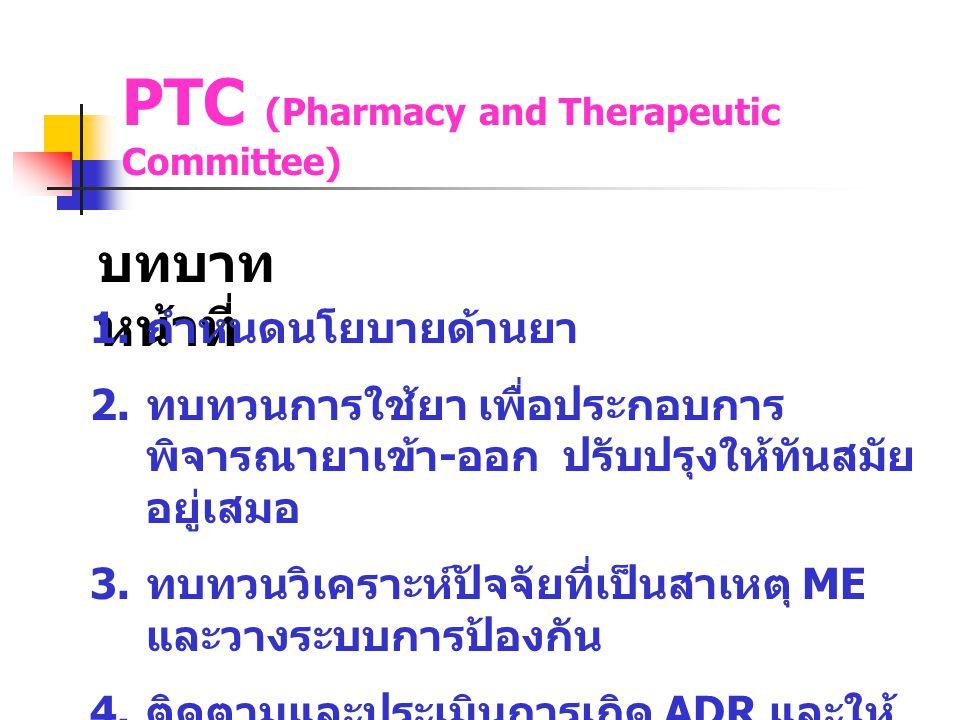 PTC (Pharmacy and Therapeutic Committee) บทบาท หน้าที่ 1. กำหนดนโยบายด้านยา 2. ทบทวนการใช้ยา เพื่อประกอบการ พิจารณายาเข้า - ออก ปรับปรุงให้ทันสมัย อยู