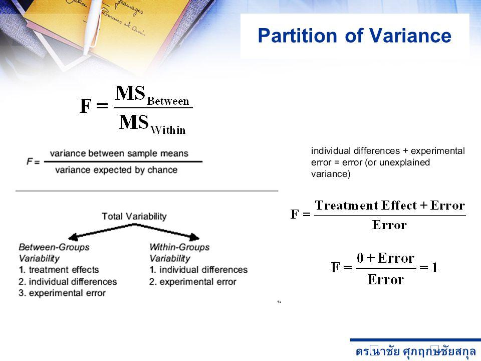 ดร. นำชัย ศุภฤกษ์ชัยสกุล Partition of Variance