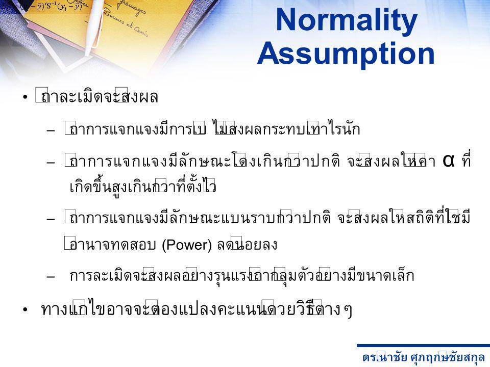 ดร. นำชัย ศุภฤกษ์ชัยสกุล Normality Assumption ถ้าละเมิดจะส่งผล – ถ้าการแจกแจงมีการเบ้ ไม่ส่งผลกระทบเท่าไรนัก – ถ้าการแจกแจงมีลักษณะโด่งเกินกว่าปกติ จะ