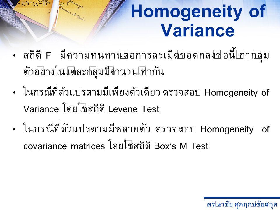 ดร. นำชัย ศุภฤกษ์ชัยสกุล Homogeneity of Variance สถิติ F มีความทนทานต่อการละเมิดข้อตกลงข้อนี้ ถ้ากลุ่ม ตัวอย่างในแต่ละกลุ่มมีจำนวนเท่ากัน ในกรณีที่ตัว