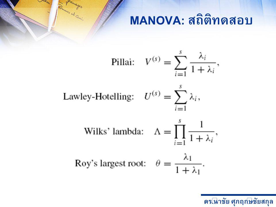 ดร. นำชัย ศุภฤกษ์ชัยสกุล MANOVA: สถิติทดสอบ