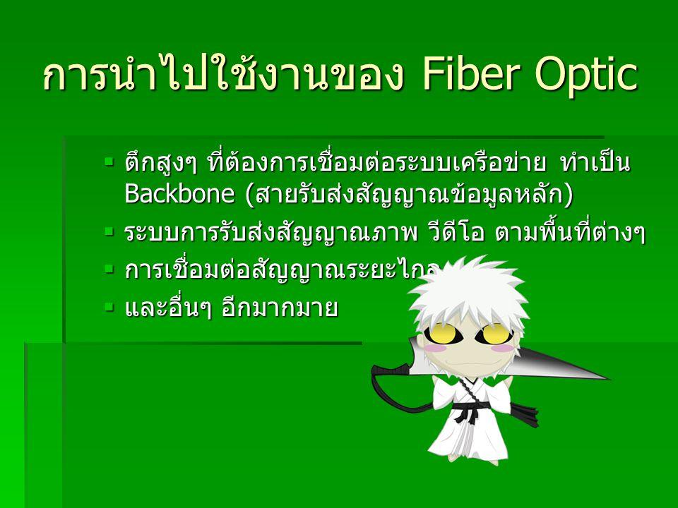 การนำไปใช้งานของ Fiber Optic  ตึกสูงๆ ที่ต้องการเชื่อมต่อระบบเครือข่าย ทำเป็น Backbone ( สายรับส่งสัญญาณข้อมูลหลัก )  ระบบการรับส่งสัญญาณภาพ วีดีโอ