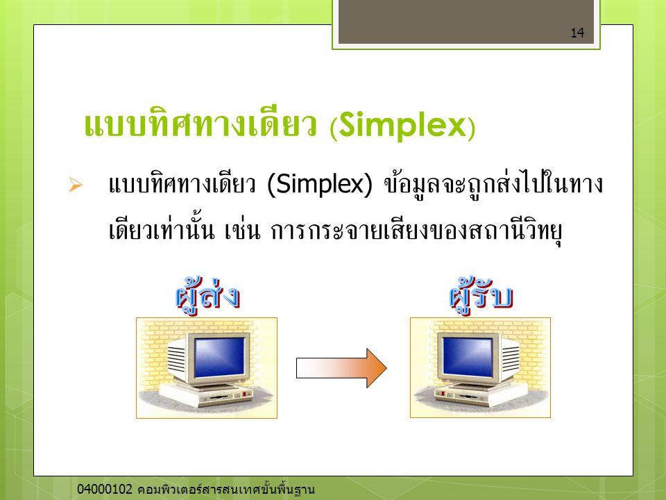 แบบทิศทางเดียว (Simplex) 14  แบบทิศทางเดียว (Simplex) ข้อมูลจะถูกส่งไปในทาง เดียวเท่านั้น เช่น การกระจายเสียงของสถานีวิทยุ 04000102 คอมพิวเตอร์สารสนเ