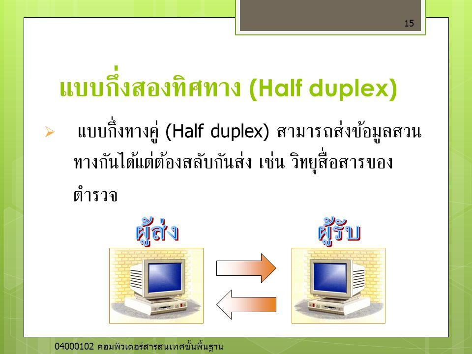 แบบกึ่งสองทิศทาง (Half duplex) 15  แบบกึ่งทางคู่ (Half duplex) สามารถส่งข้อมูลสวน ทางกันได้แต่ต้องสลับกันส่ง เช่น วิทยุสื่อสารของ ตำรวจ 04000102 คอมพ